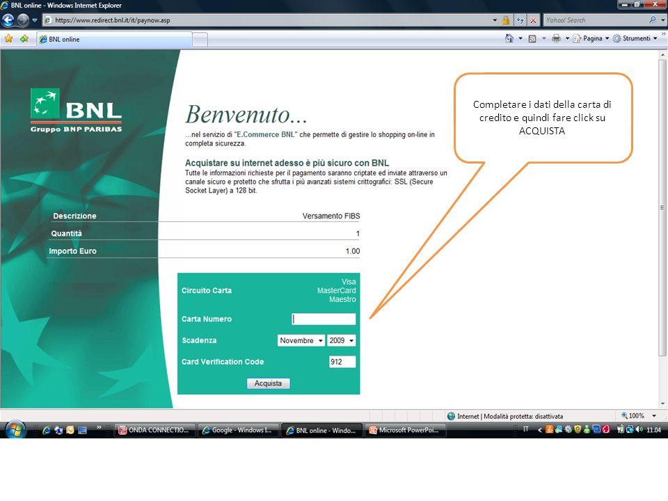 Stampare o memorizzare i dati del pagamento.