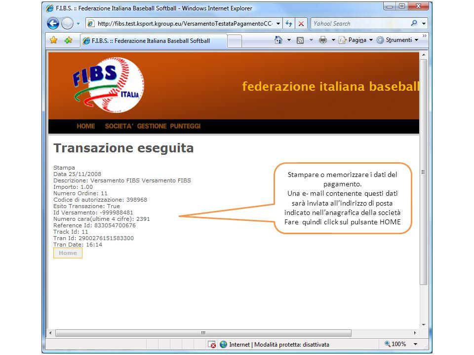 I riferimenti del pagamento sono automaticamente registrati negli appositi spazi della pagina di versamento.