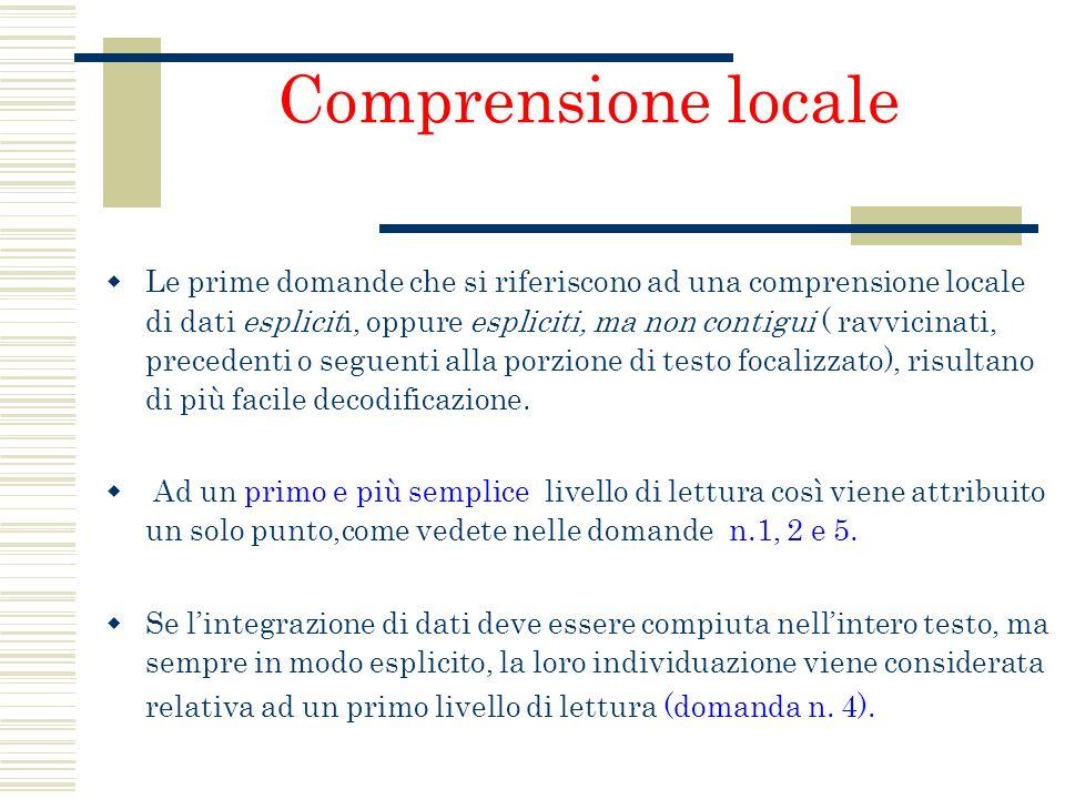 Comprensione locale Le prime domande che si riferiscono ad una comprensione locale di dati espliciti, oppure espliciti, ma non contigui ( ravvicinati,