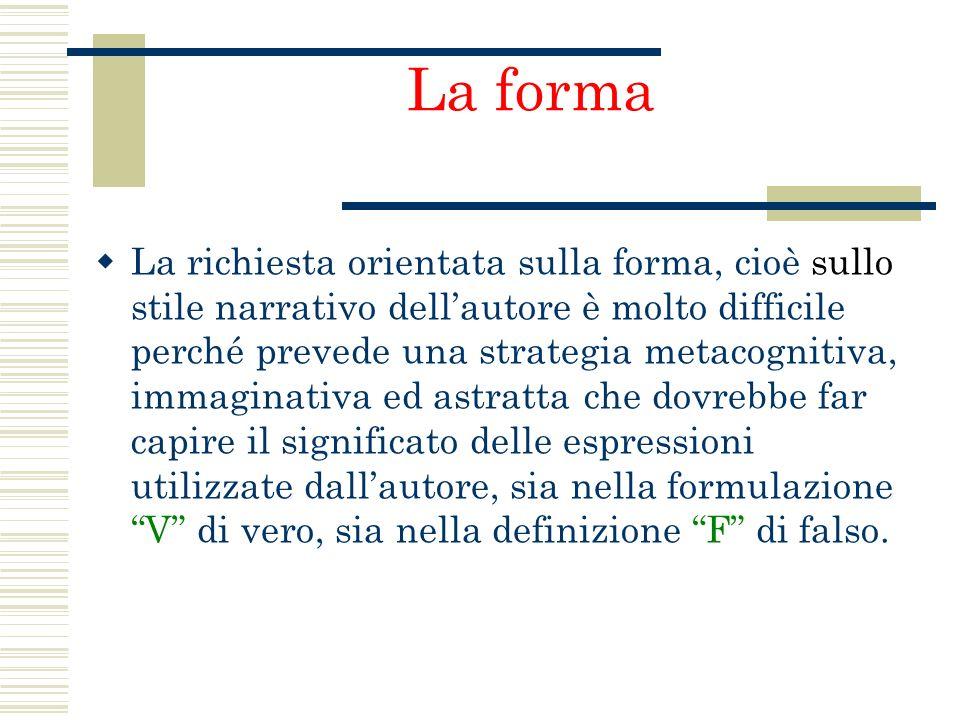 La forma La richiesta orientata sulla forma, cioè sullo stile narrativo dellautore è molto difficile perché prevede una strategia metacognitiva, immag