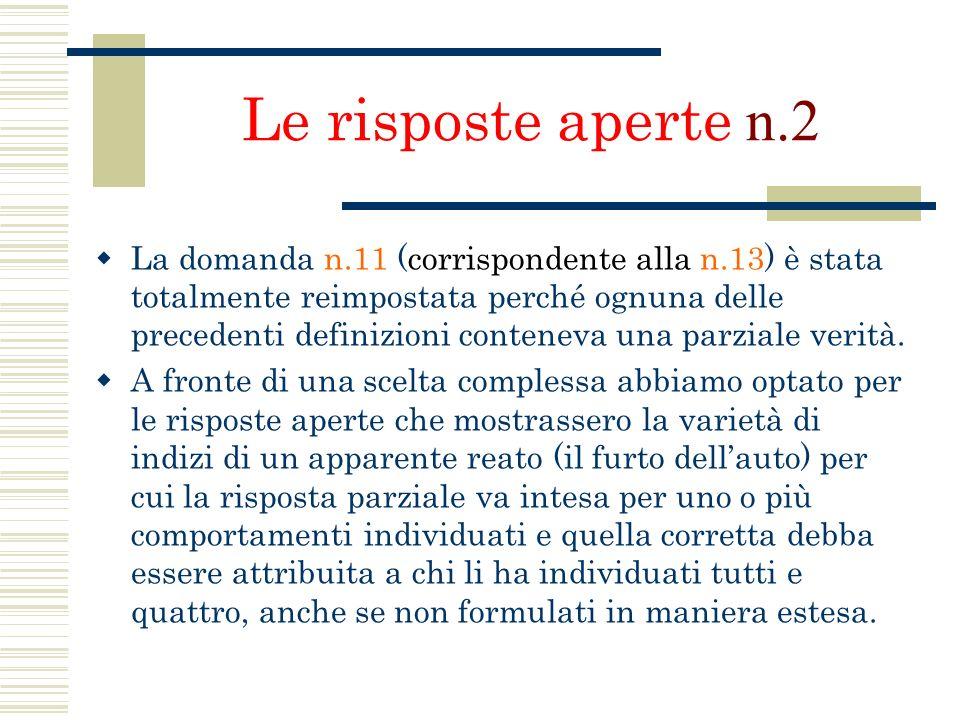Le risposte aperte n.2 La domanda n.11 (corrispondente alla n.13) è stata totalmente reimpostata perché ognuna delle precedenti definizioni conteneva
