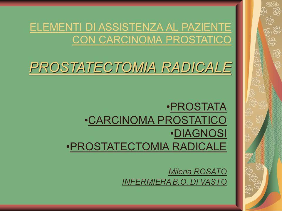 PROSTATECTOMIA RADICALE ELEMENTI DI ASSISTENZA AL PAZIENTE CON CARCINOMA PROSTATICO PROSTATECTOMIA RADICALE PROSTATA CARCINOMA PROSTATICO DIAGNOSI PROSTATECTOMIA RADICALE Milena ROSATO INFERMIERA B.O.