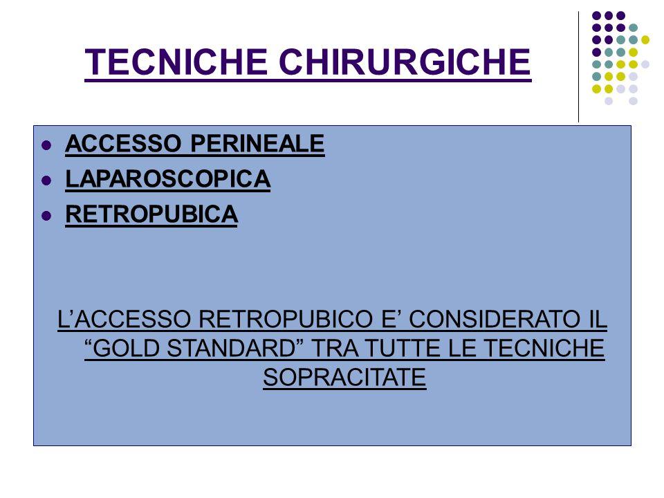 TECNICHE CHIRURGICHE ACCESSO PERINEALE LAPAROSCOPICA RETROPUBICA LACCESSO RETROPUBICO E CONSIDERATO IL GOLD STANDARD TRA TUTTE LE TECNICHE SOPRACITATE