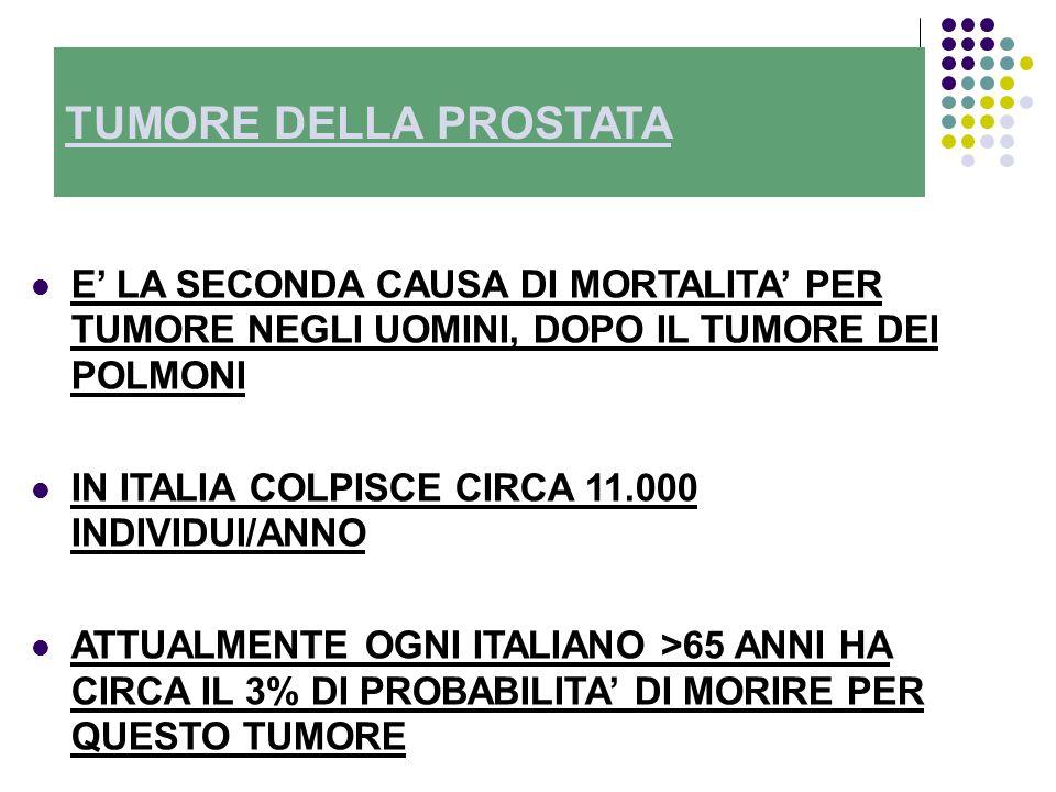 TUMORE DELLA PROSTATA E LA SECONDA CAUSA DI MORTALITA PER TUMORE NEGLI UOMINI, DOPO IL TUMORE DEI POLMONI IN ITALIA COLPISCE CIRCA 11.000 INDIVIDUI/ANNO ATTUALMENTE OGNI ITALIANO >65 ANNI HA CIRCA IL 3% DI PROBABILITA DI MORIRE PER QUESTO TUMORE