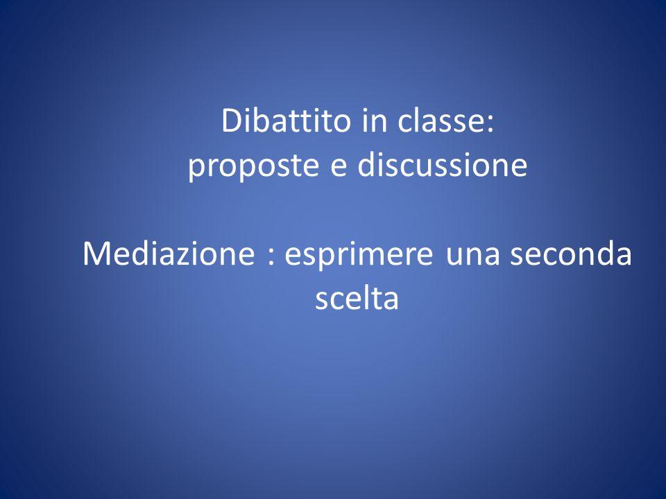 Dibattito in classe: proposte e discussione Mediazione : esprimere una seconda scelta