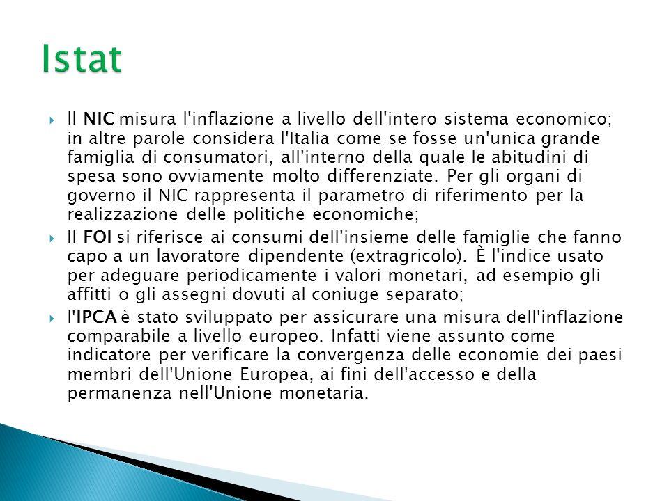 ll NIC misura l inflazione a livello dell intero sistema economico; in altre parole considera l Italia come se fosse un unica grande famiglia di consumatori, all interno della quale le abitudini di spesa sono ovviamente molto differenziate.