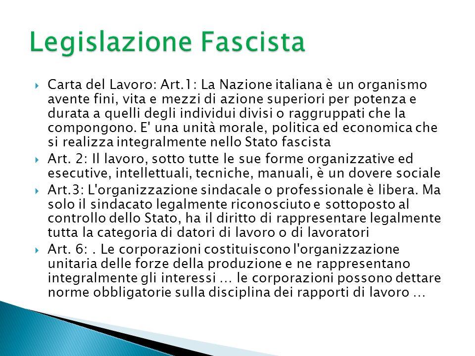Carta del Lavoro: Art.1: La Nazione italiana è un organismo avente fini, vita e mezzi di azione superiori per potenza e durata a quelli degli individui divisi o raggruppati che la compongono.