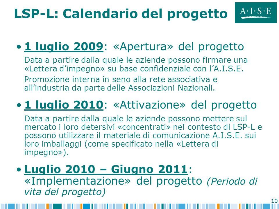 10 LSP-L: Calendario del progetto 1 luglio 2009: «Apertura» del progetto Data a partire dalla quale le aziende possono firmare una «Lettera dimpegno»