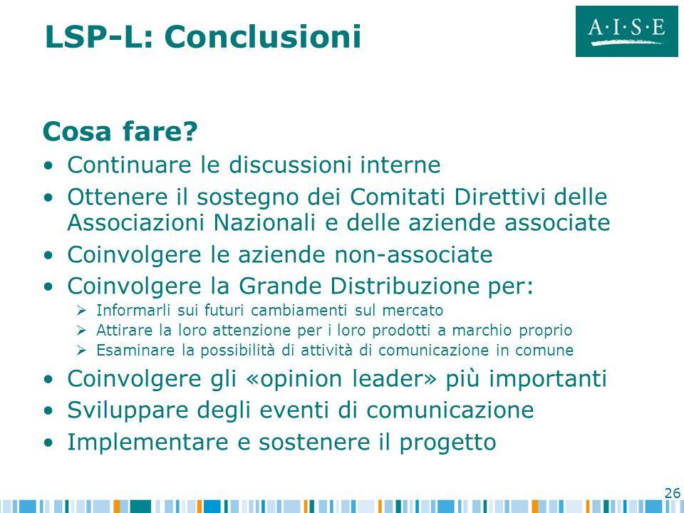 26 LSP-L: Conclusioni Cosa fare? Continuare le discussioni interne Ottenere il sostegno dei Comitati Direttivi delle Associazioni Nazionali e delle az
