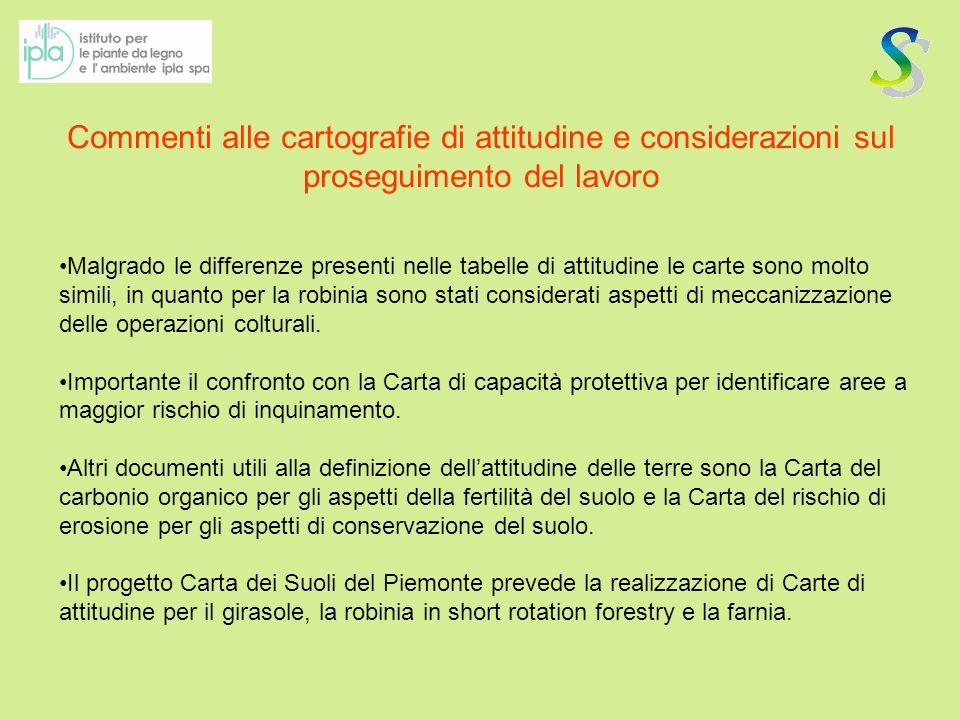 Commenti alle cartografie di attitudine e considerazioni sul proseguimento del lavoro Malgrado le differenze presenti nelle tabelle di attitudine le c