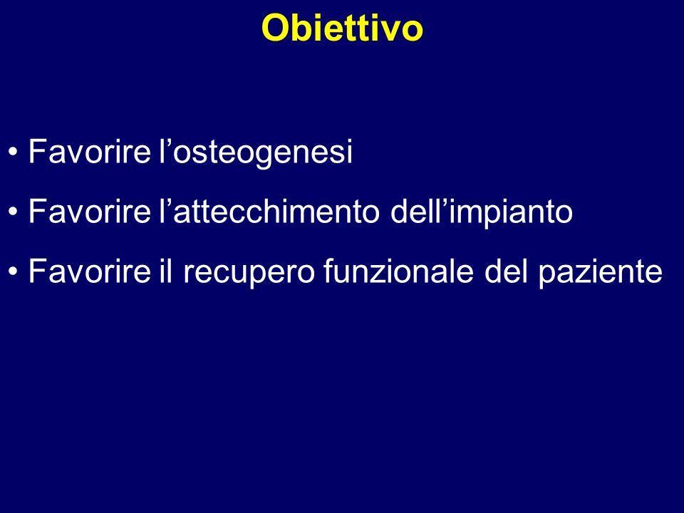 Favorire losteogenesi Favorire lattecchimento dellimpianto Favorire il recupero funzionale del paziente Obiettivo
