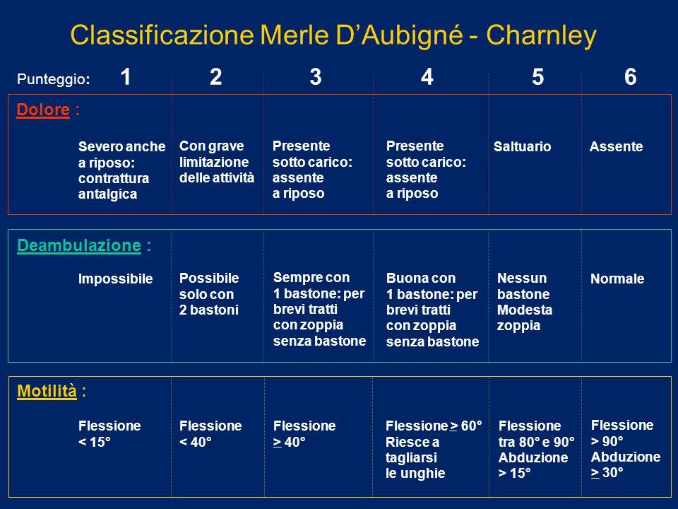 Classificazione Merle DAubigné - Charnley Severo anche a riposo: contrattura antalgica Con grave limitazione delle attività Presente sotto carico: ass