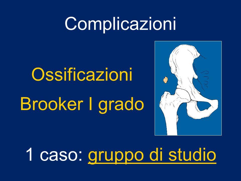 Complicazioni Ossificazioni Brooker I grado 1 caso: gruppo di studio