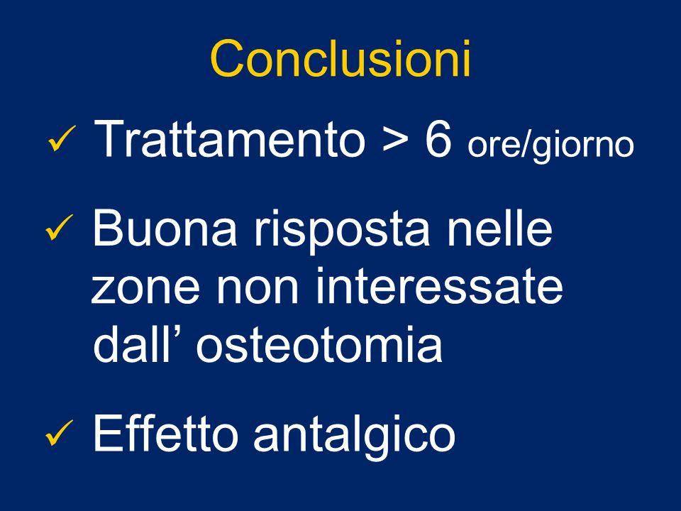 Conclusioni Trattamento > 6 ore/giorno Buona risposta nelle zone non interessate dall osteotomia Effetto antalgico