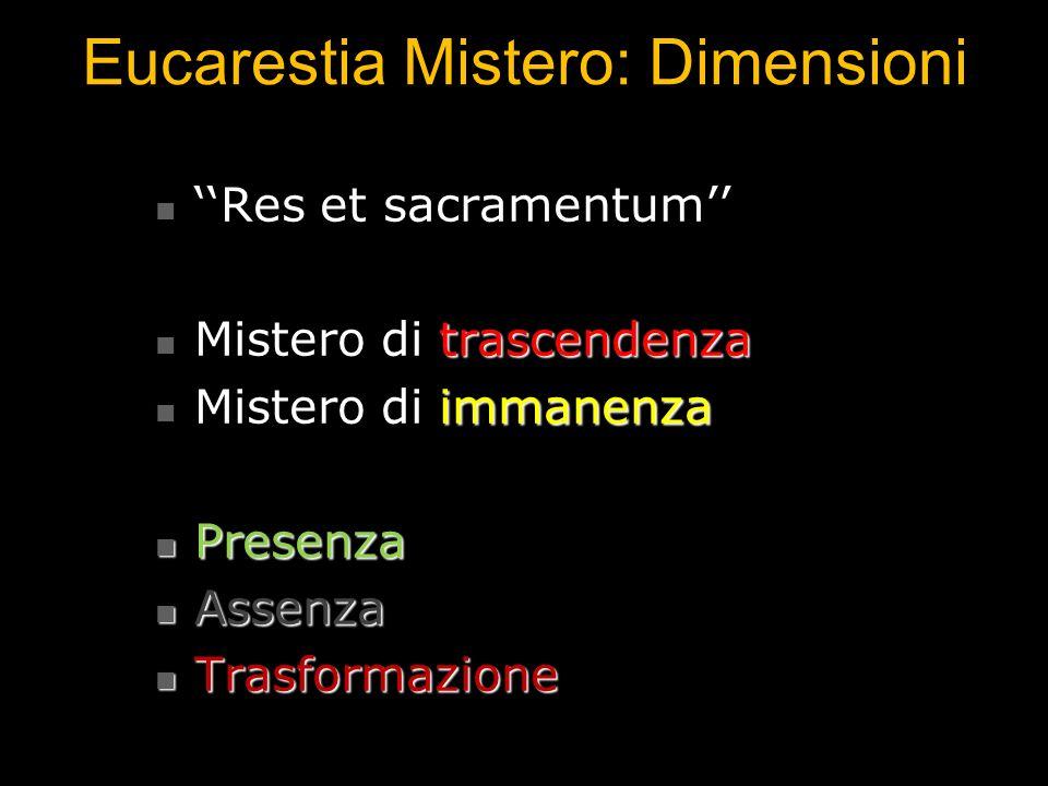 Eucarestia Mistero: Dimensioni Res et sacramentum Res et sacramentum Mistero di trascendenza Mistero di trascendenza Mistero di immanenza Mistero di i
