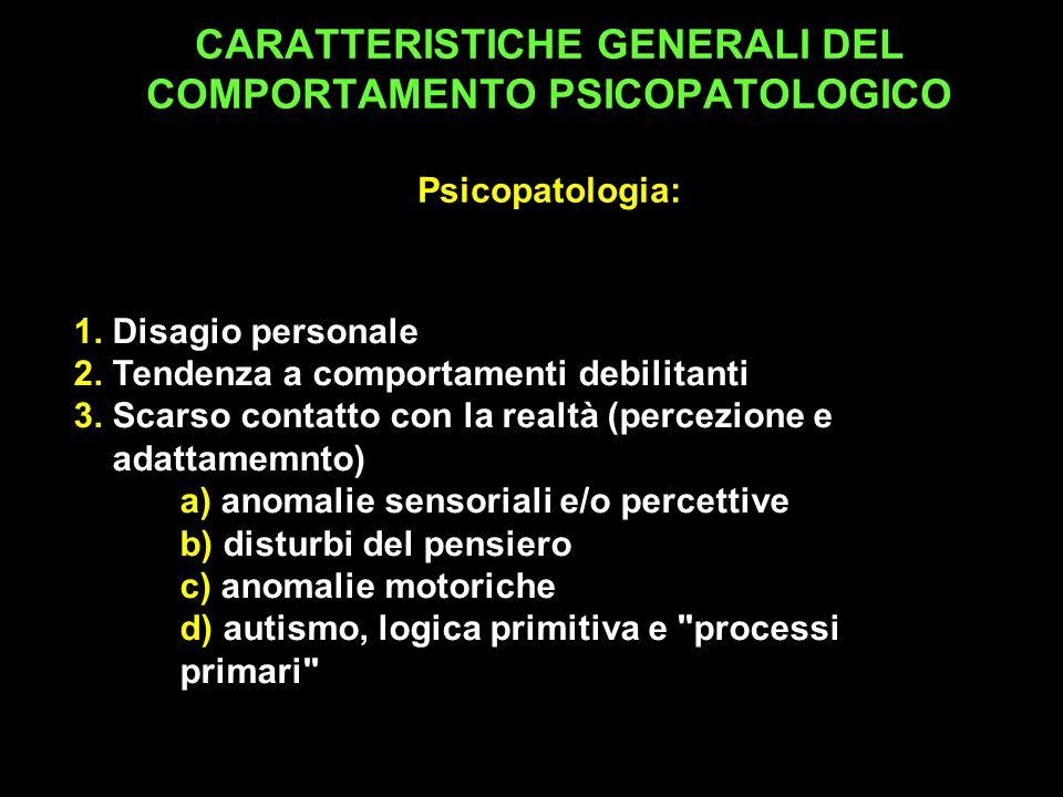 1. Disagio personale 2. Tendenza a comportamenti debilitanti 3. Scarso contatto con la realtà (percezione e adattamemnto) a) anomalie sensoriali e/o p