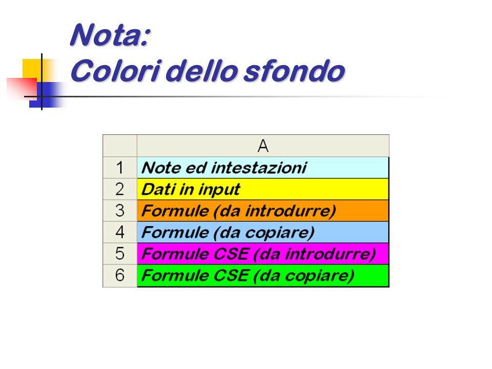 Nota: Colori dello sfondo
