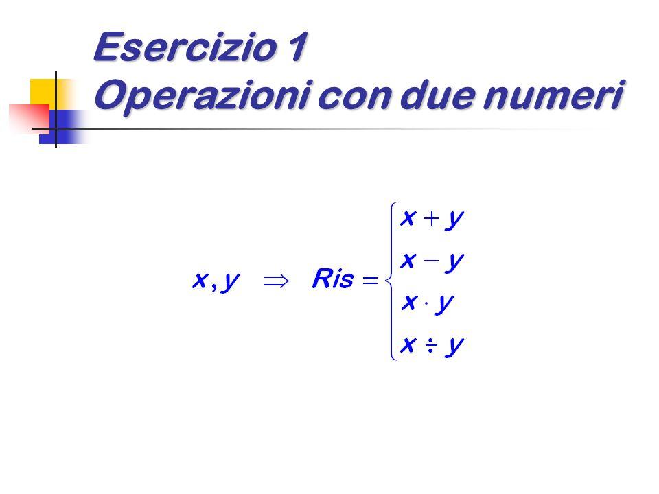 Esercizio 1 Operazioni di due numeri