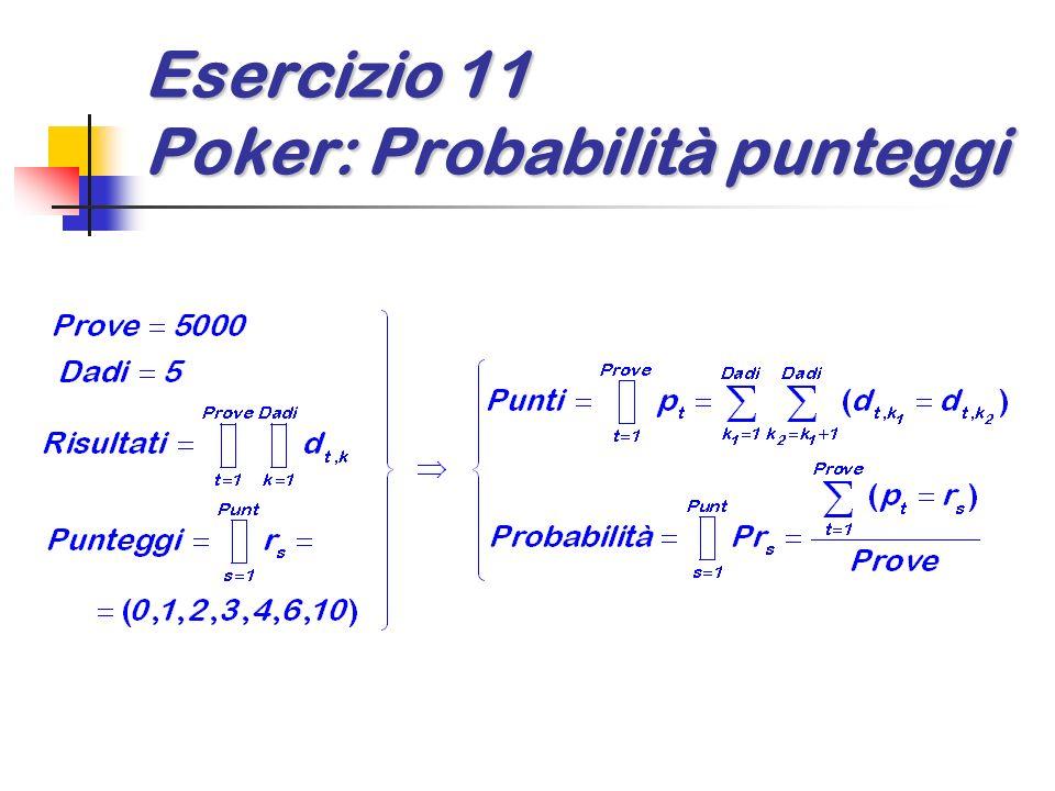Esercizio 11 Poker: Probabilità punteggi