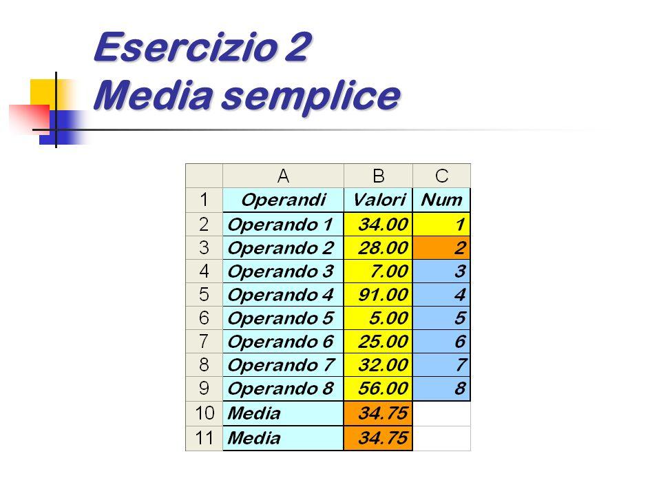 Esercizio 8 Operazioni diverse Dato un numero pilota (da inserire nelle cella B1) e altri due numeri (da inserire nelle celle B2 e B3) calcolare: la somma o la differenza o il prodotto o il rapporto o la potenza o la lunghezza dellipotenusa la somma o la differenza o il prodotto o il rapporto o la potenza o la lunghezza dellipotenusa
