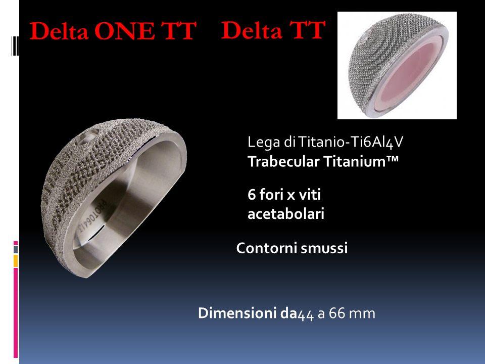Delta ONE TT Lega di Titanio-Ti6Al4V Trabecular Titanium 6 fori x viti acetabolari Dimensioni da44 a 66 mm Contorni smussi Delta TT