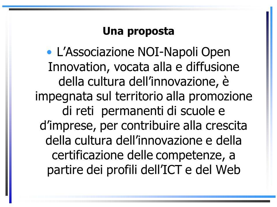 Una proposta LAssociazione NOI-Napoli Open Innovation, vocata alla e diffusione della cultura dellinnovazione, è impegnata sul territorio alla promozione di reti permanenti di scuole e dimprese, per contribuire alla crescita della cultura dellinnovazione e della certificazione delle competenze, a partire dei profili dellICT e del Web