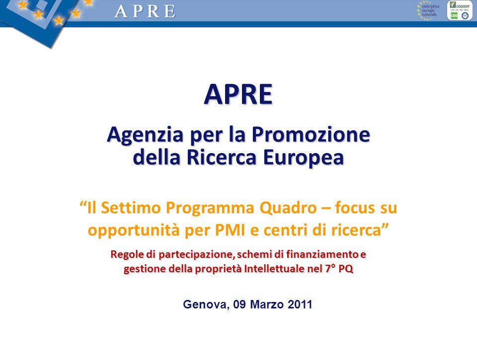 APRE Agenzia per la Promozione della Ricerca Europea Il Settimo Programma Quadro – focus su opportunità per PMI e centri di ricerca Regole di partecip