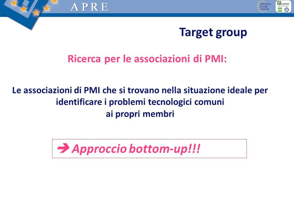 Target group Ricerca per le associazioni di PMI: Le associazioni di PMI che si trovano nella situazione ideale per identificare i problemi tecnologici