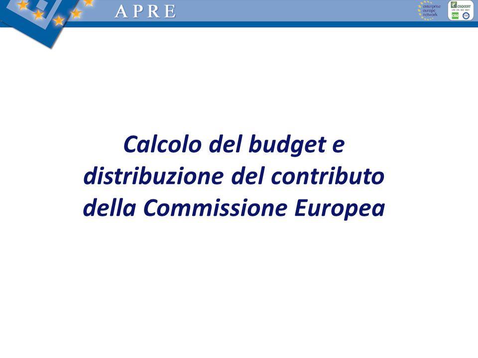 Calcolo del budget e distribuzione del contributo della Commissione Europea
