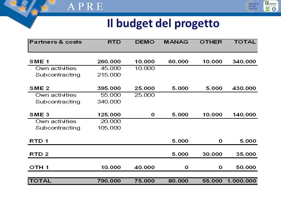 Il budget del progetto