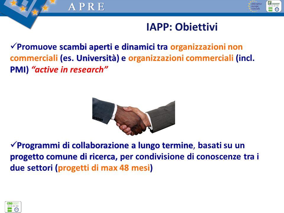 IAPP: Obiettivi scambi aperti e dinamici Università PMI Promuove scambi aperti e dinamici tra organizzazioni non commerciali (es. Università) e organi