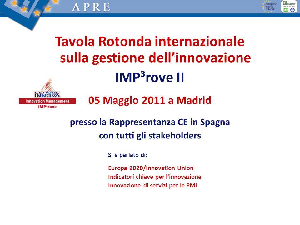 Tavola Rotonda 10 novembre 2010 presso Tavola Rotonda internazionale sulla gestione dellinnovazione IMP³rove II 05 Maggio 2011 a Madrid presso la Rapp