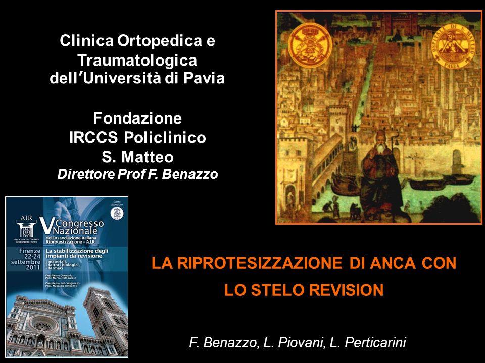 LA RIPROTESIZZAZIONE DI ANCA CON LO STELO REVISION F. Benazzo, L. Piovani, L. Perticarini Clinica Ortopedica e Traumatologica dellUniversità di Pavia