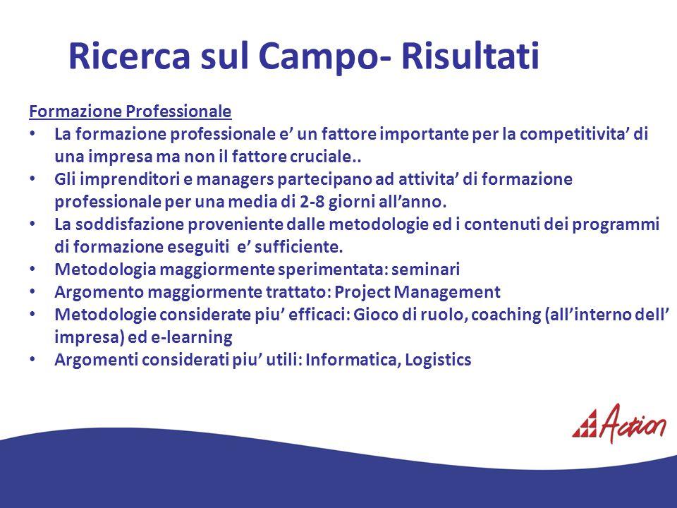 Ricerca sul Campo- Risultati Formazione Professionale La formazione professionale e un fattore importante per la competitivita di una impresa ma non i