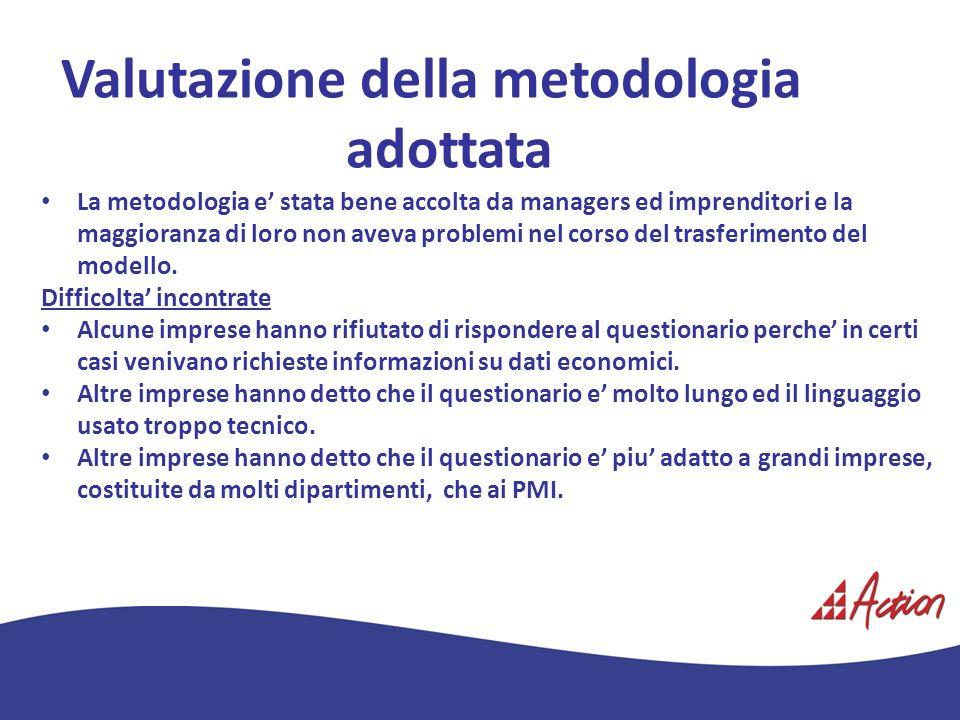 Valutazione della metodologia adottata La metodologia e stata bene accolta da managers ed imprenditori e la maggioranza di loro non aveva problemi nel