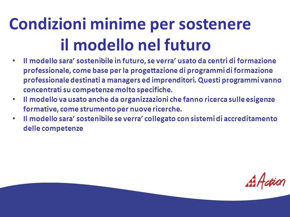 Condizioni minime per sostenere il modello nel futuro Il modello sara sostenibile in futuro, se verra usato da centri di formazione professionale, com