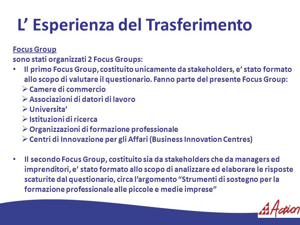L Esperienza del Trasferimento Focus Group sono stati organizzati 2 Focus Groups: Il primo Focus Group, costituito unicamente da stakeholders, e stato