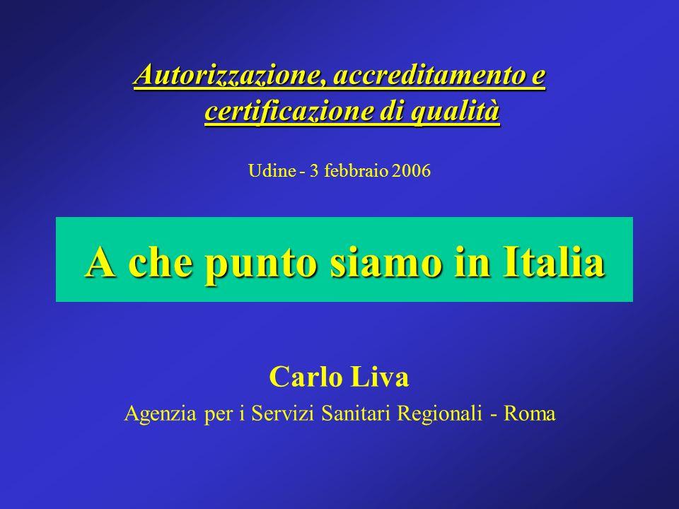 Autorizzazione, accreditamento e certificazione di qualità Udine - 3 febbraio 2006 Carlo Liva Agenzia per i Servizi Sanitari Regionali - Roma A che pu
