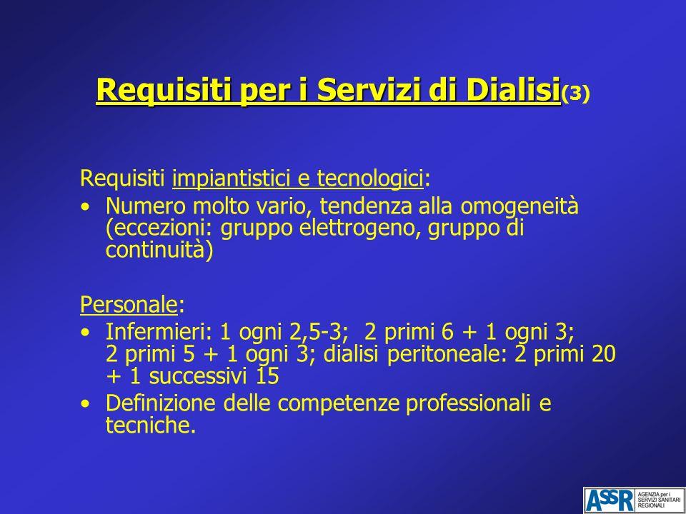 Requisiti per i Servizi di Dialisi Requisiti per i Servizi di Dialisi (3) Requisiti impiantistici e tecnologici: Numero molto vario, tendenza alla omo