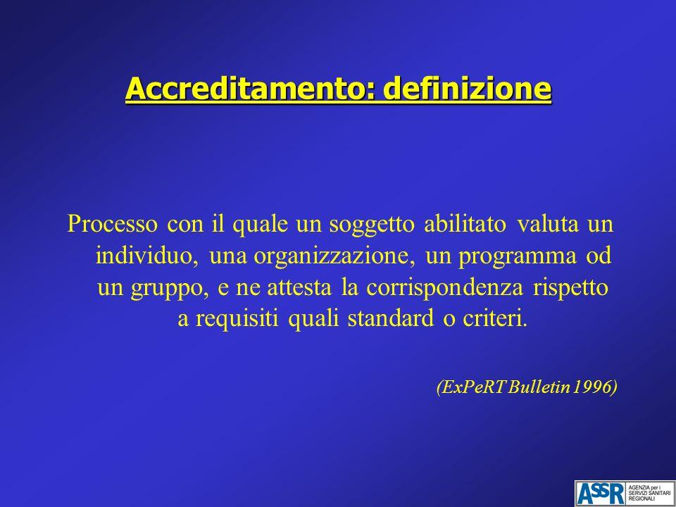 Accreditamento: definizione Processo con il quale un soggetto abilitato valuta un individuo, una organizzazione, un programma od un gruppo, e ne attes
