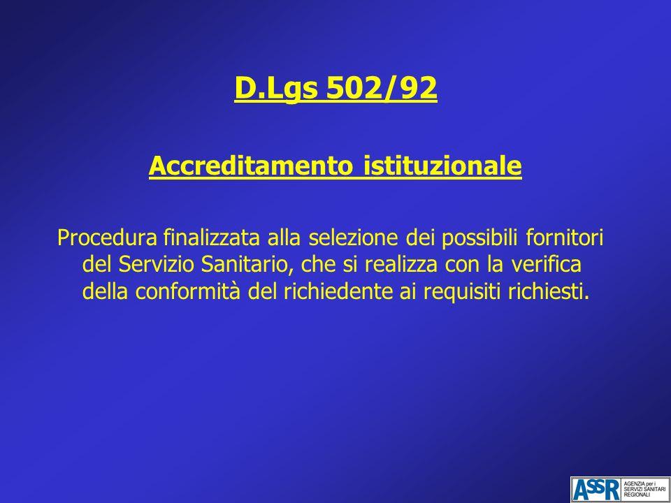 D.Lgs 502/92 Accreditamento istituzionale Procedura finalizzata alla selezione dei possibili fornitori del Servizio Sanitario, che si realizza con la