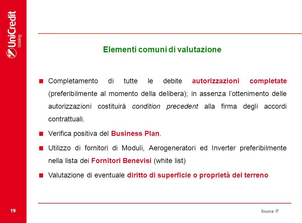 19 Source: IT Elementi comuni di valutazione Completamento di tutte le debite autorizzazioni completate (preferibilmente al momento della delibera); i