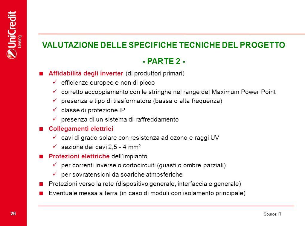26 Source: IT VALUTAZIONE DELLE SPECIFICHE TECNICHE DEL PROGETTO - PARTE 2 - Affidabilità degli inverter (di produttori primari) efficienze europee e
