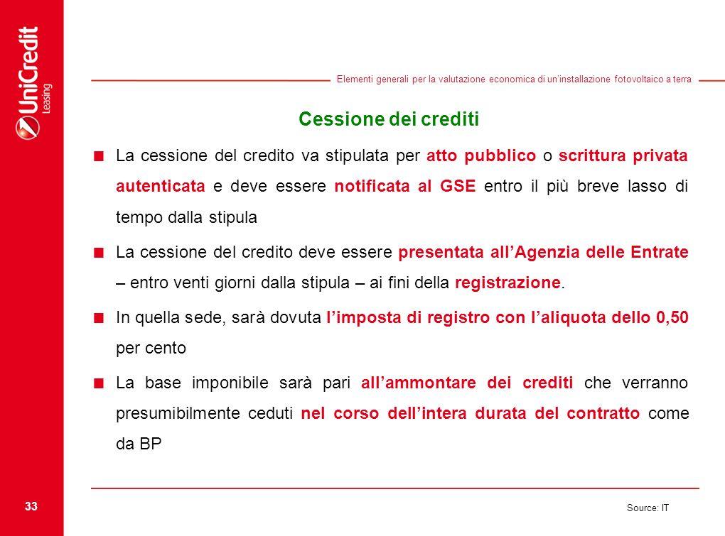 33 Source: IT Elementi generali per la valutazione economica di uninstallazione fotovoltaico a terra Cessione dei crediti La cessione del credito va s