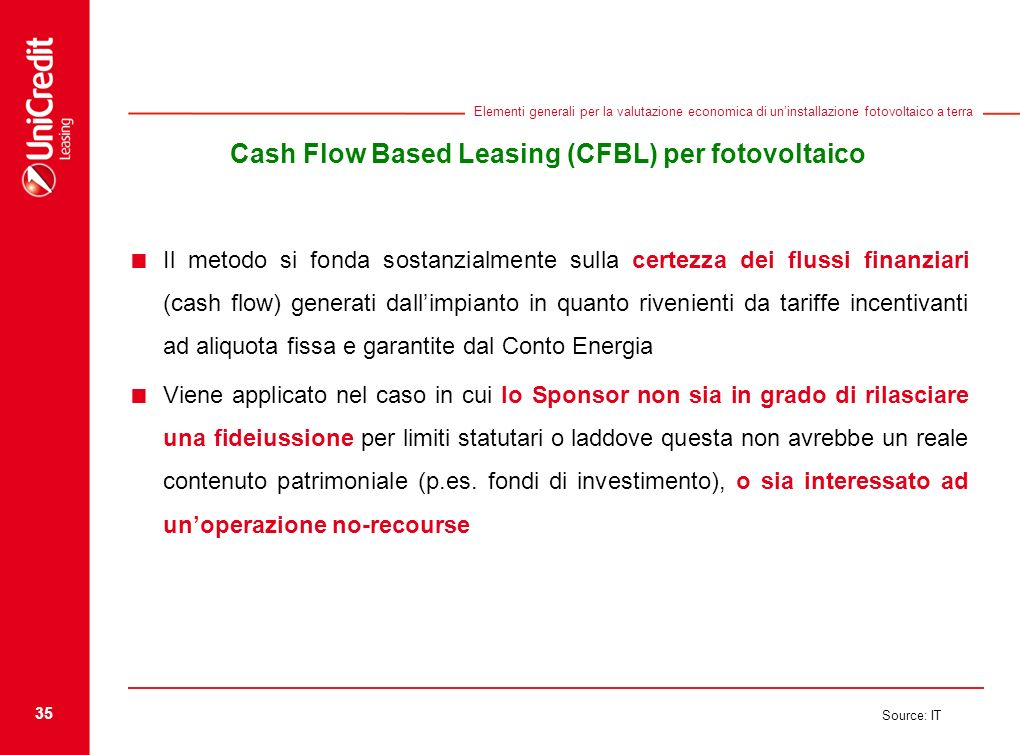 35 Source: IT Elementi generali per la valutazione economica di uninstallazione fotovoltaico a terra Cash Flow Based Leasing (CFBL) per fotovoltaico I