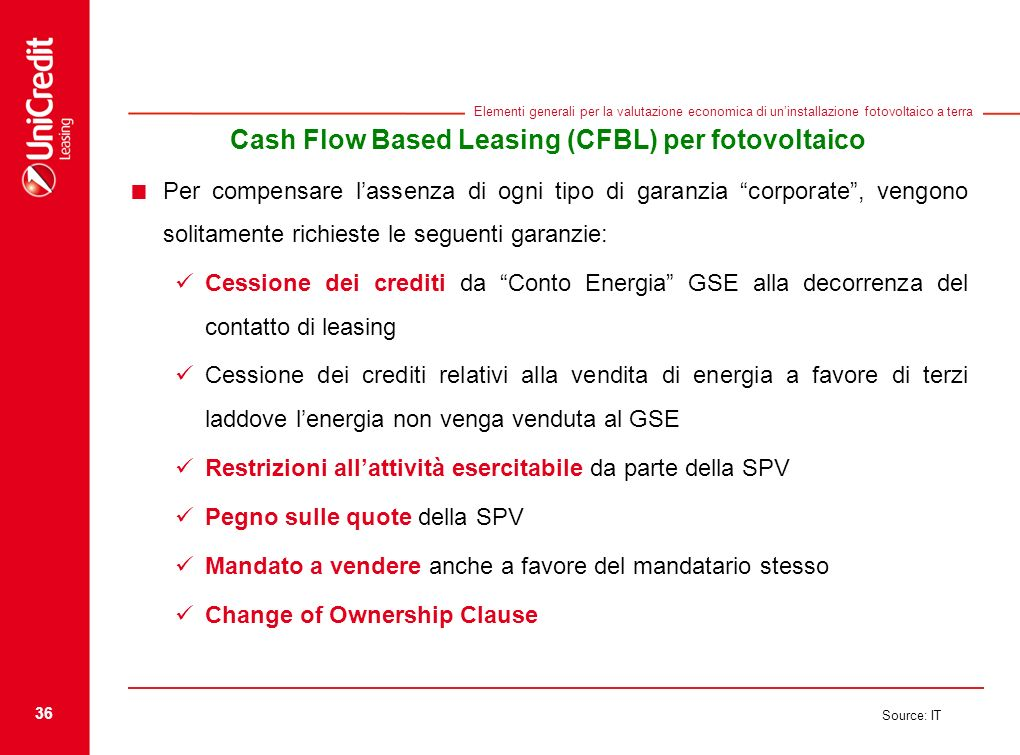 36 Source: IT Elementi generali per la valutazione economica di uninstallazione fotovoltaico a terra Cash Flow Based Leasing (CFBL) per fotovoltaico P