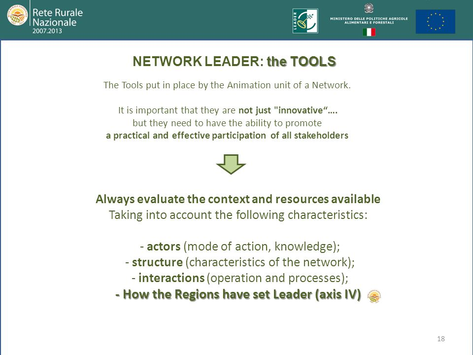 18 The Tools put in place by the Animation unit of a Network. It is important that they are not just