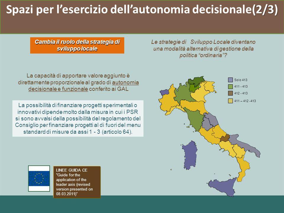 (2/3) Spazi per lesercizio dellautonomia decisionale(2/3) Cambia il ruolo della strategia di sviluppo locale Le strategie di Sviluppo Locale diventano