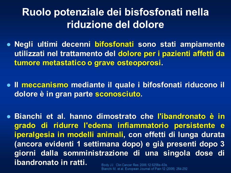 Ruolo potenziale dei bisfosfonati nella riduzione del dolore Negli ultimi decenni bifosfonati sono stati ampiamente utilizzati nel trattamento del dol