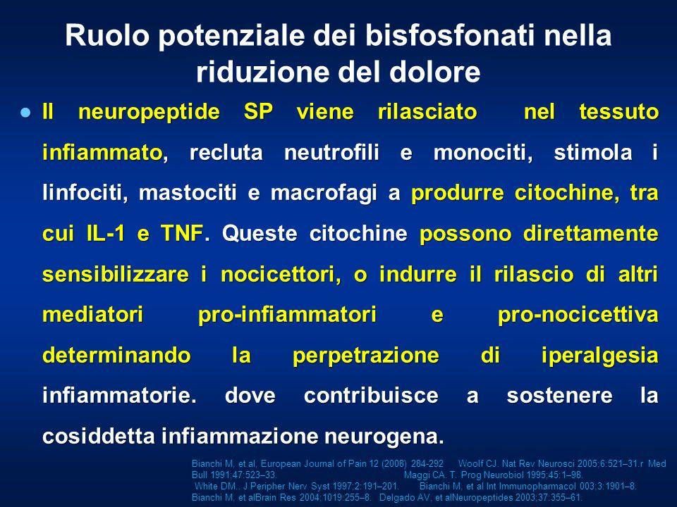 Il neuropeptide SP viene rilasciato nel tessuto infiammato, recluta neutrofili e monociti, stimola i linfociti, mastociti e macrofagi a produrre citoc
